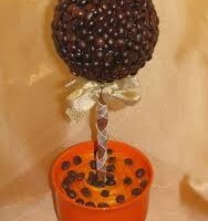 «Кофейное дерево» – поделка из зерен кофе